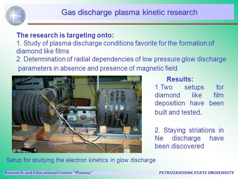 PETROZAVODSK STATE UNIVERSITYResearch and Educational Center Plasma Gas discharge plasma kinetic research The research is targeting onto: 1.