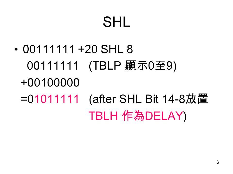 6 SHL 00111111 +20 SHL 8 00111111 (TBLP 顯示 0 至 9) +00100000 =01011111 (after SHL Bit 14-8 放置 TBLH 作為 DELAY)