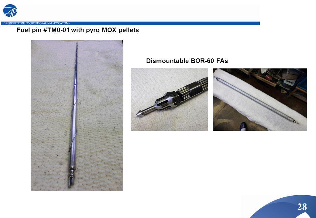 Fuel pin #TM0-01 with pyro MOX pellets Dismountable BOR-60 FAs 28