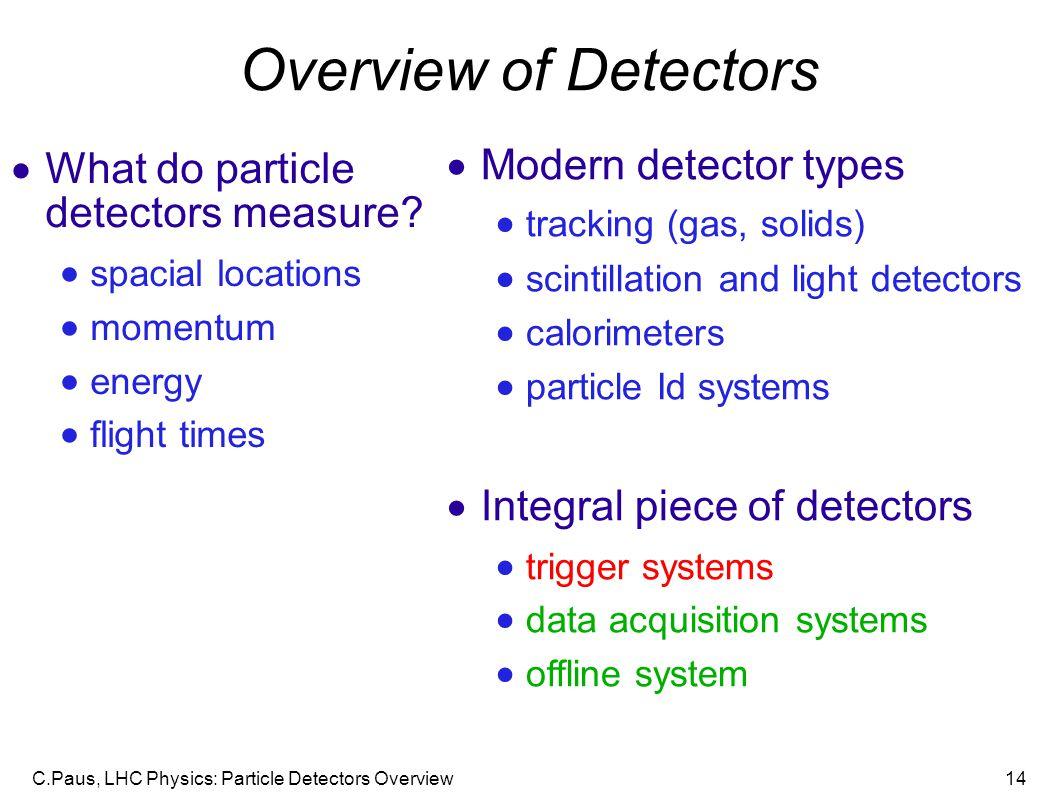 C.Paus, LHC Physics: Particle Detectors Overview14 Overview of Detectors  What do particle detectors measure.