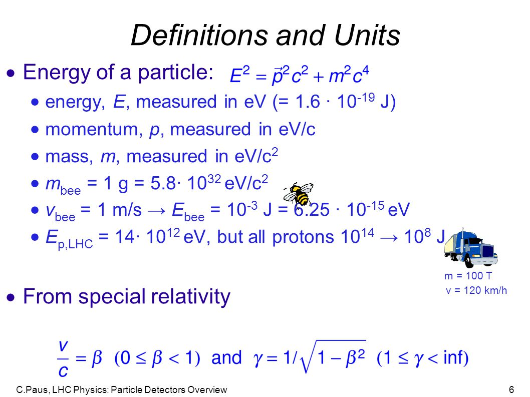 C.Paus, LHC Physics: Particle Detectors Overview6 Definitions and Units  Energy of a particle:  energy, E, measured in eV (= 1.6 · 10 -19 J)  momentum, p, measured in eV/c  mass, m, measured in eV/c 2  m bee = 1 g = 5.8· 10 32 eV/c 2  v bee = 1 m/s → E bee = 10 -3 J = 6.25 · 10 -15 eV  E p,LHC = 14· 10 12 eV, but all protons 10 14 → 10 8 J  From special relativity m = 100 T v = 120 km/h