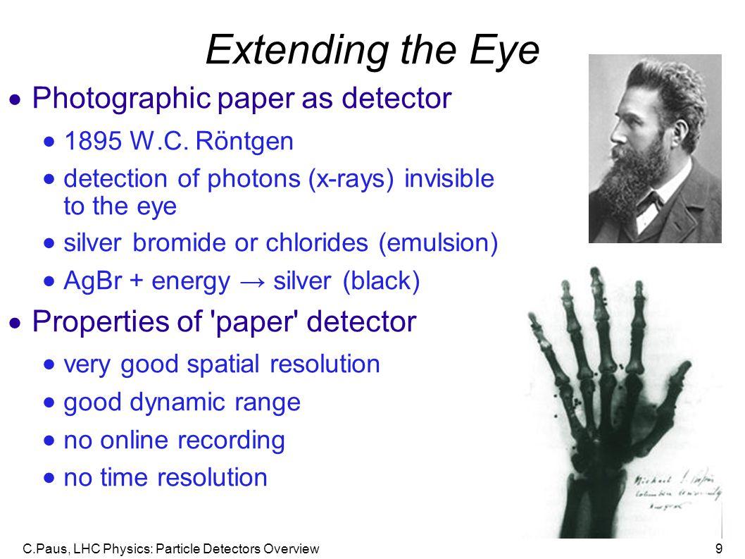C.Paus, LHC Physics: Particle Detectors Overview9 Extending the Eye  Photographic paper as detector  1895 W.C.
