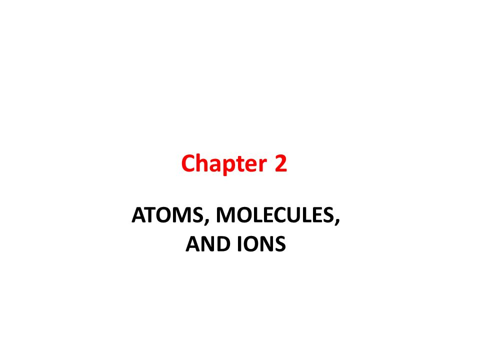 ATOMS, MOLECULES, AND IONS Chapter 2