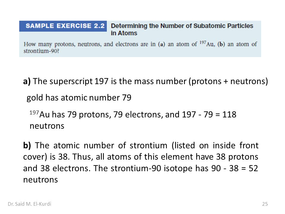 25Dr. Said M. El-Kurdi a) The superscript 197 is the mass number (protons + neutrons) gold has atomic number 79 197 Au has 79 protons, 79 electrons, a