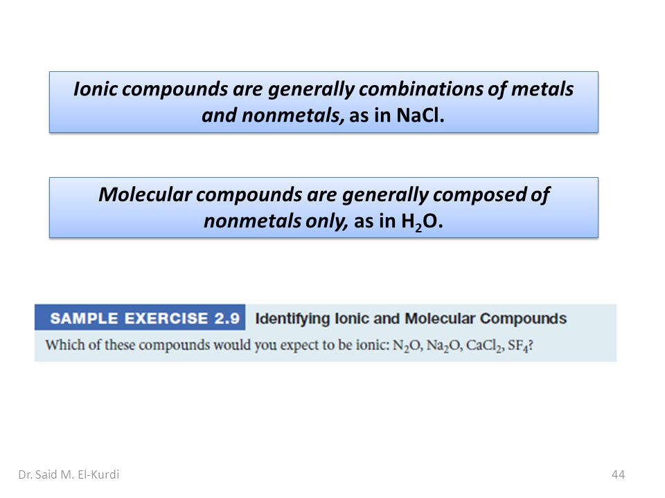 44Dr. Said M. El-Kurdi Ionic compounds are generally combinations of metals and nonmetals, as in NaCl. Molecular compounds are generally composed of n