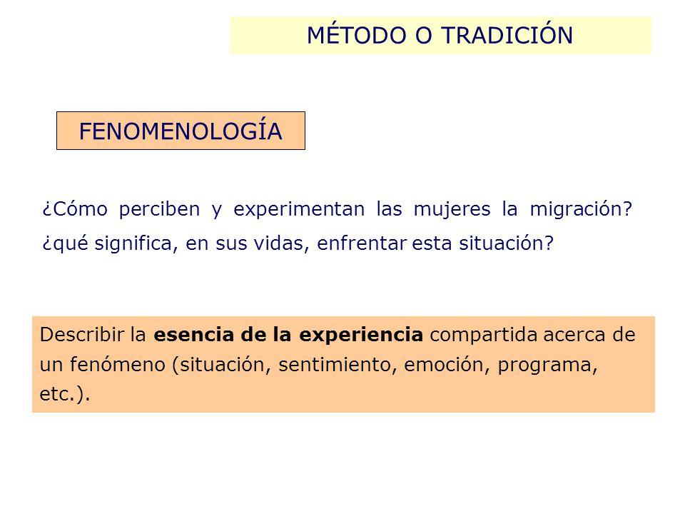 Describir la esencia de la experiencia compartida acerca de un fenómeno (situación, sentimiento, emoción, programa, etc.).