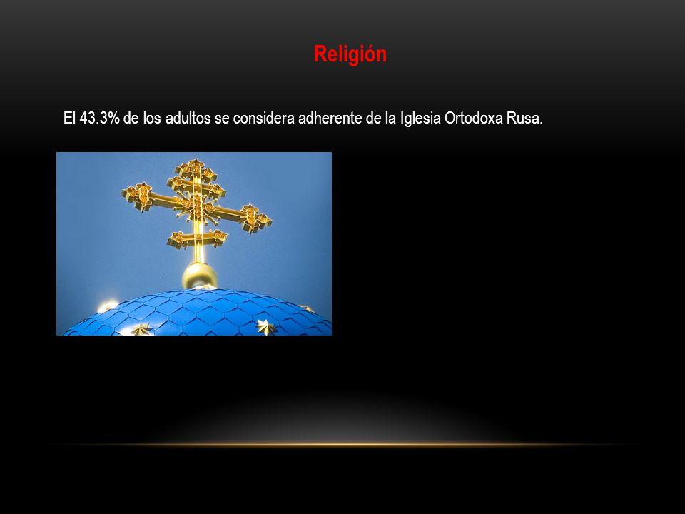 Religión El 43.3% de los adultos se considera adherente de la Iglesia Ortodoxa Rusa.