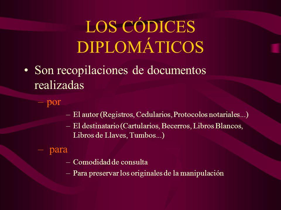 LOS CÓDICES DIPLOMÁTICOS Son recopilaciones de documentos realizadas –por –El autor (Registros, Cedularios, Protocolos notariales...) –El destinatario