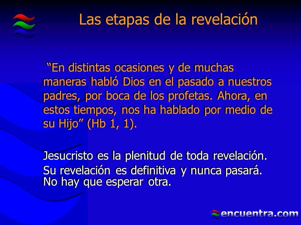 Las etapas de la revelación En distintas ocasiones y de muchas maneras habló Dios en el pasado a nuestros padres, por boca de los profetas.