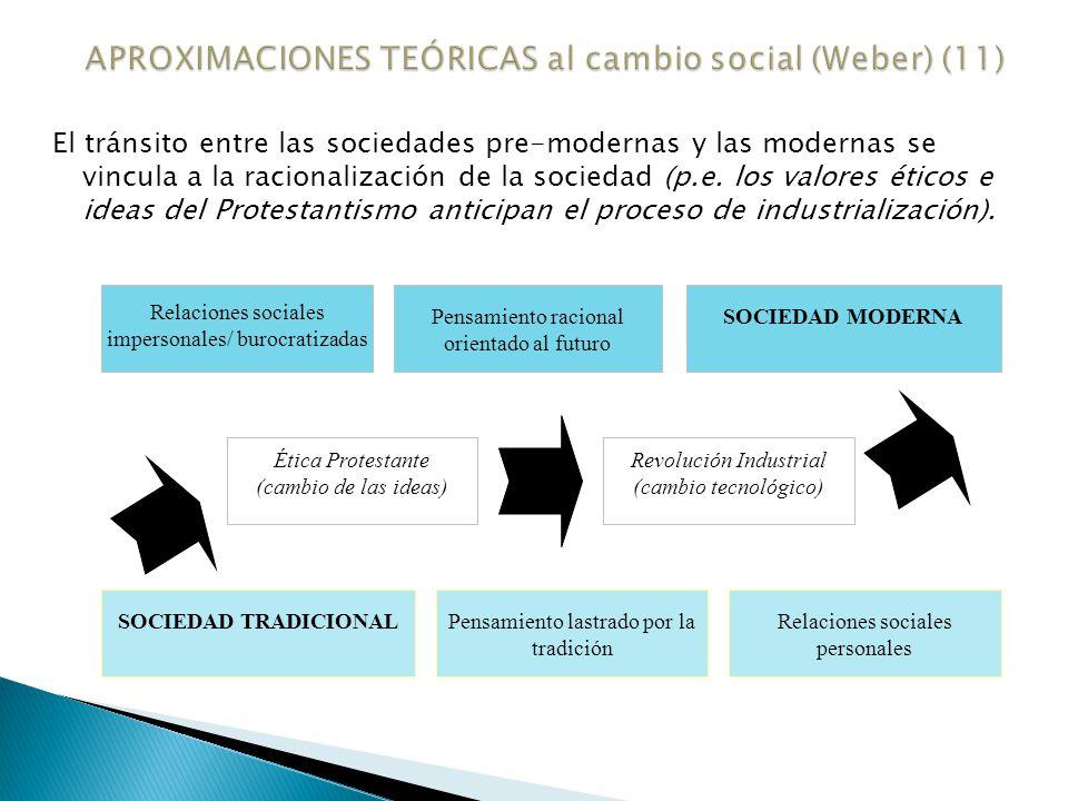 Weber también analiza las principales características de las sociedades modernas, en contraposición a las tradicionales.
