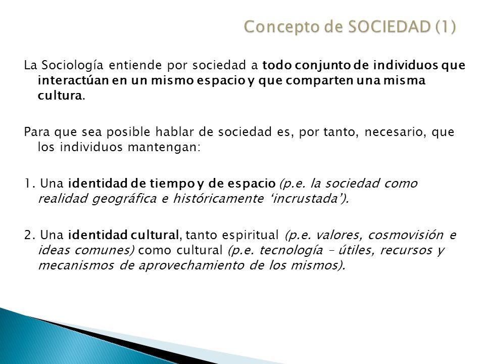 Finalmente, para que sea posible hablar de sociedad es necesario que la agrupación de individuos cumpla un tercer requisito.