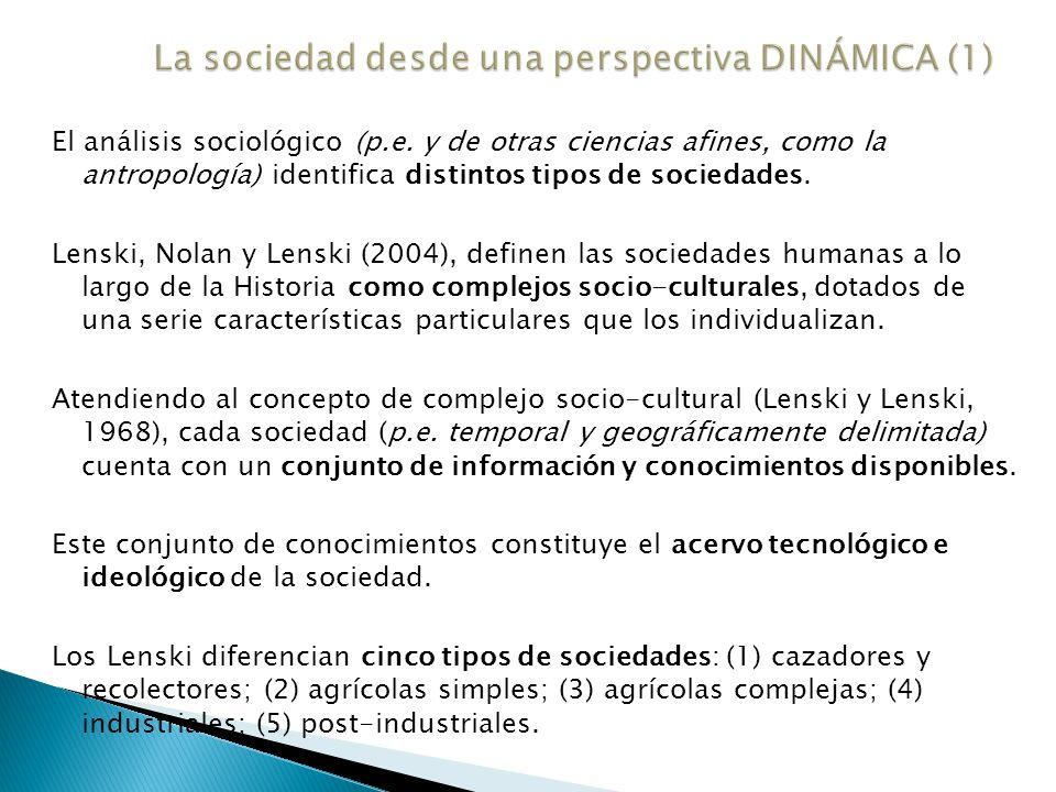 Según el análisis de los Lenski, toda sociedad se encuentra en uno de los estadios socio-culturales anteriores (p.e.