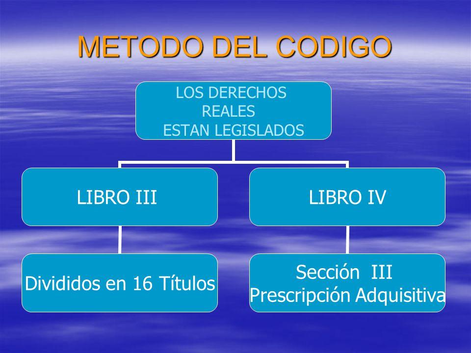 METODO DEL CODIGO LOS DERECHOS REALES ESTAN LEGISLADOS LIBRO III Divididos en 16 Títulos LIBRO IV Sección III Prescripción Adquisitiva