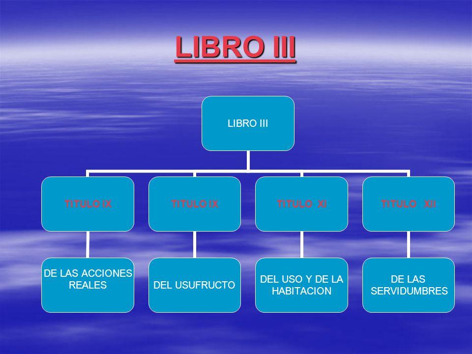 LIBRO III TITULO IX DE LAS ACCIONES REALES TITULO IX DEL USUFRUCTO TITULO XI DEL USO Y DE LA HABITACION TITULO XII DE LAS SERVIDUMBRES