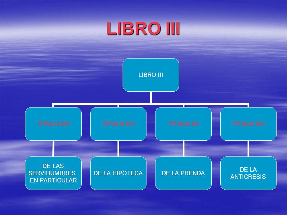 LIBRO III TITULO XIII DE LAS SERVIDUMBRES EN PARTICULAR TITULO XIV DE LA HIPOTECA TITULO XV DE LA PRENDA TITULO XVI DE LA ANTICRESIS