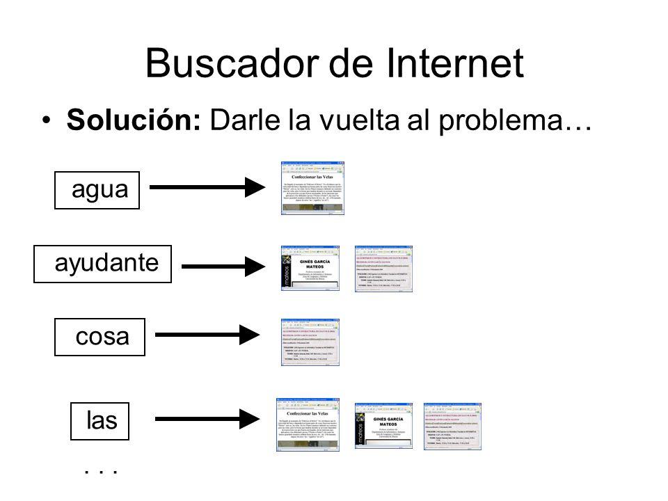 Buscador de Internet Solución: Darle la vuelta al problema… agua ayudante las cosa...