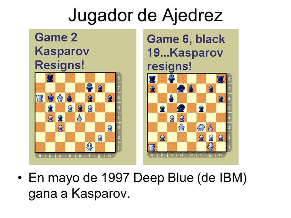 Jugador de Ajedrez En mayo de 1997 Deep Blue (de IBM) gana a Kasparov.