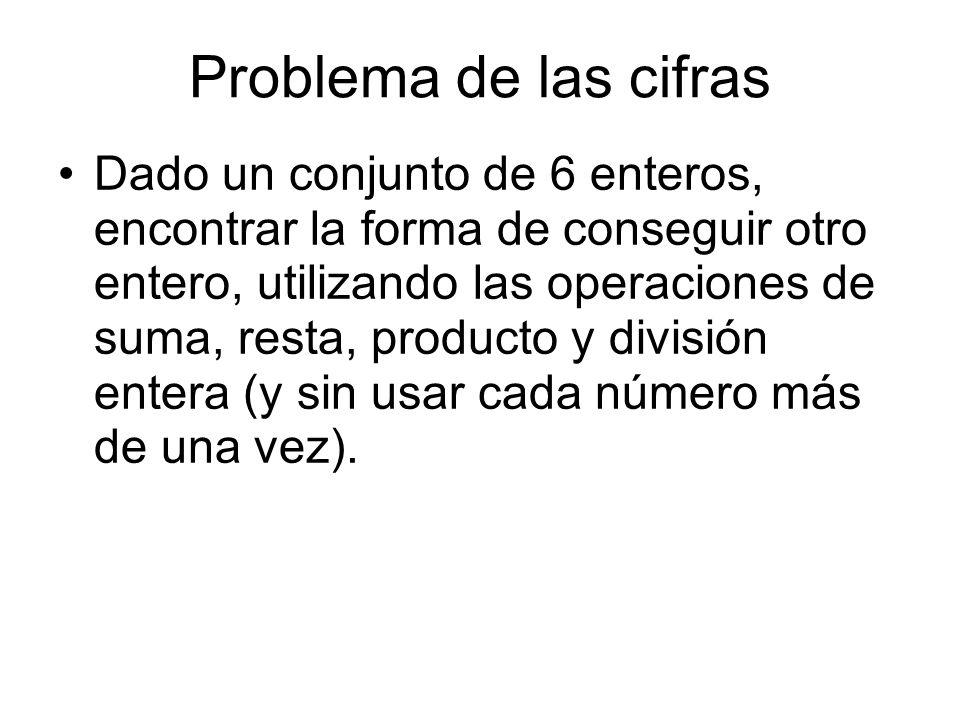 Problema de las cifras Dado un conjunto de 6 enteros, encontrar la forma de conseguir otro entero, utilizando las operaciones de suma, resta, producto y división entera (y sin usar cada número más de una vez).
