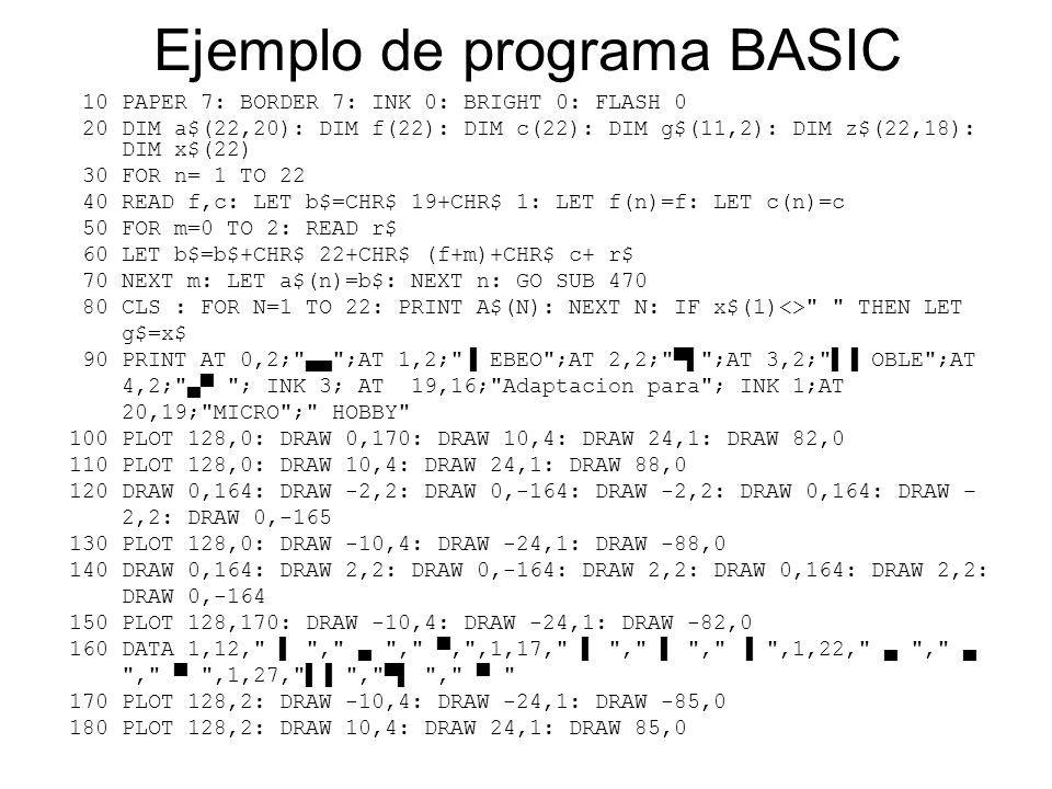 Ejemplo de programa BASIC 10 PAPER 7: BORDER 7: INK 0: BRIGHT 0: FLASH 0 20 DIM a$(22,20): DIM f(22): DIM c(22): DIM g$(11,2): DIM z$(22,18): DIM x$(22) 30 FOR n= 1 TO 22 40 READ f,c: LET b$=CHR$ 19+CHR$ 1: LET f(n)=f: LET c(n)=c 50 FOR m=0 TO 2: READ r$ 60 LET b$=b$+CHR$ 22+CHR$ (f+m)+CHR$ c+ r$ 70 NEXT m: LET a$(n)=b$: NEXT n: GO SUB 470 80 CLS : FOR N=1 TO 22: PRINT A$(N): NEXT N: IF x$(1)<> THEN LET g$=x$ 90 PRINT AT 0,2; ▄▄ ;AT 1,2; ▐ EBEO ;AT 2,2; ▀▌ ;AT 3,2; ▌▐ OBLE ;AT 4,2; ▄▀ ; INK 3; AT 19,16; Adaptacion para ; INK 1;AT 20,19; MICRO ; HOBBY 100 PLOT 128,0: DRAW 0,170: DRAW 10,4: DRAW 24,1: DRAW 82,0 110 PLOT 128,0: DRAW 10,4: DRAW 24,1: DRAW 88,0 120 DRAW 0,164: DRAW -2,2: DRAW 0,-164: DRAW -2,2: DRAW 0,164: DRAW – 2,2: DRAW 0,-165 130 PLOT 128,0: DRAW -10,4: DRAW -24,1: DRAW -88,0 140 DRAW 0,164: DRAW 2,2: DRAW 0,-164: DRAW 2,2: DRAW 0,164: DRAW 2,2: DRAW 0,-164 150 PLOT 128,170: DRAW -10,4: DRAW -24,1: DRAW -82,0 160 DATA 1,12, ▌ , ▄ , ▀' ,1,17, ▌ , ▌ , ▐ ,1,22, ▄ , ▄ , ▀ ,1,27, ▌▐ , ▀▌ , ▀ 170 PLOT 128,2: DRAW -10,4: DRAW -24,1: DRAW -85,0 180 PLOT 128,2: DRAW 10,4: DRAW 24,1: DRAW 85,0