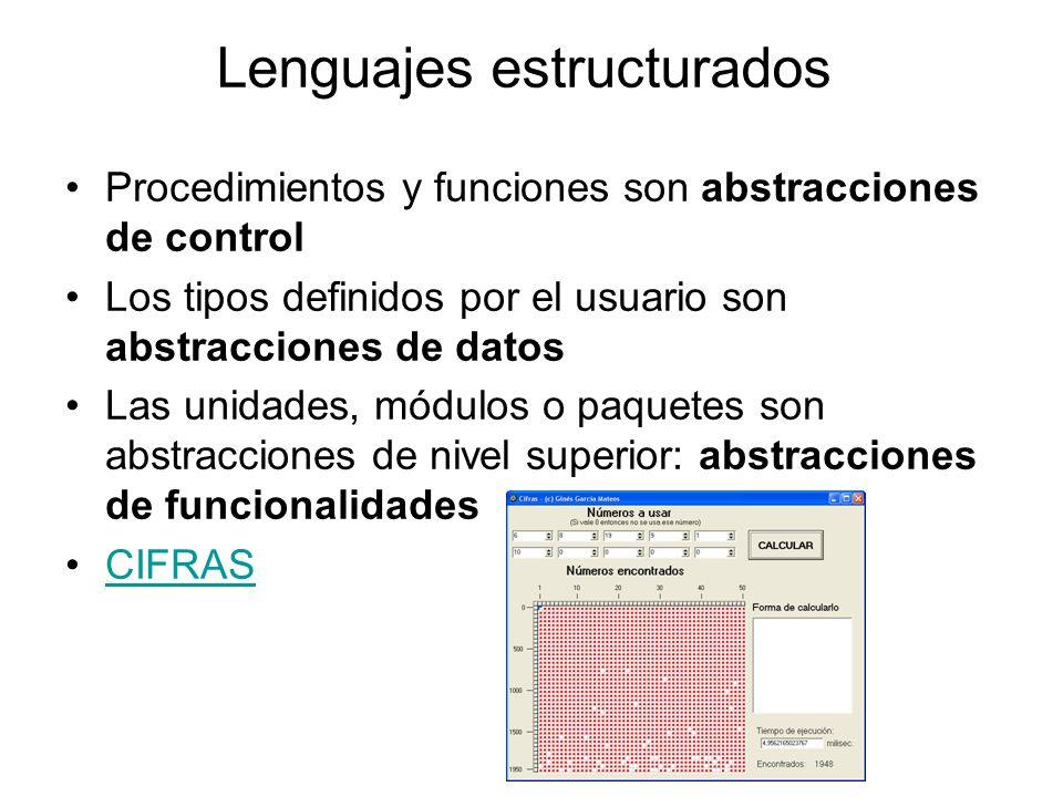 Lenguajes estructurados Procedimientos y funciones son abstracciones de control Los tipos definidos por el usuario son abstracciones de datos Las unidades, módulos o paquetes son abstracciones de nivel superior: abstracciones de funcionalidades CIFRAS
