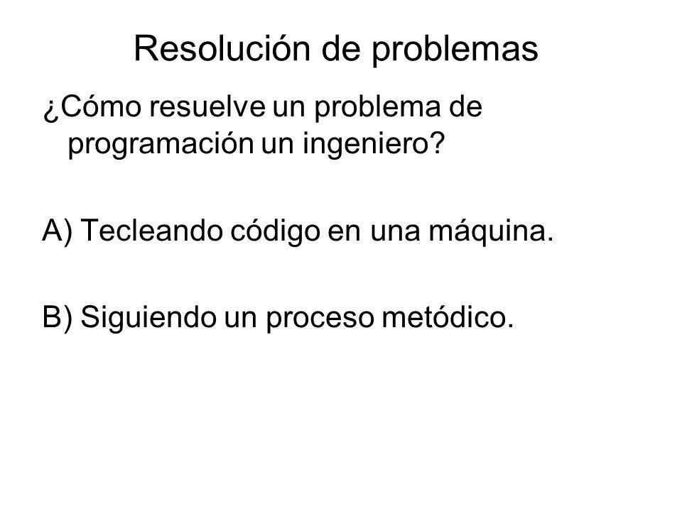 Resolución de problemas ¿Cómo resuelve un problema de programación un ingeniero.