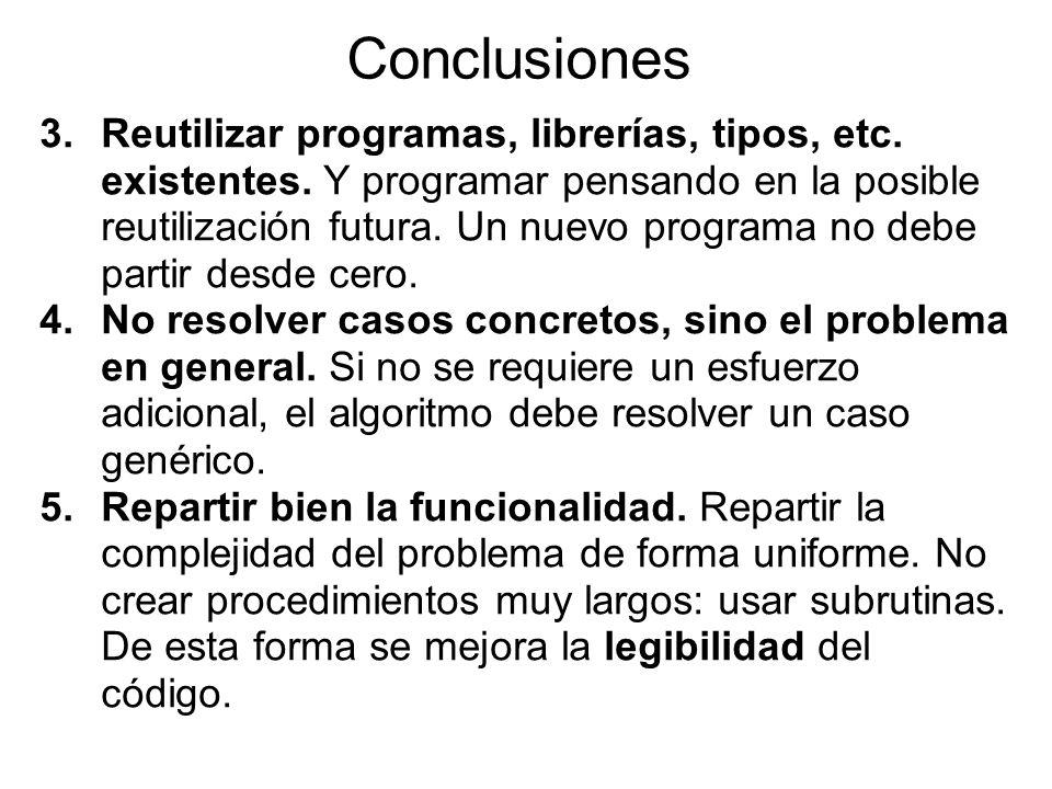 Conclusiones 3.Reutilizar programas, librerías, tipos, etc.