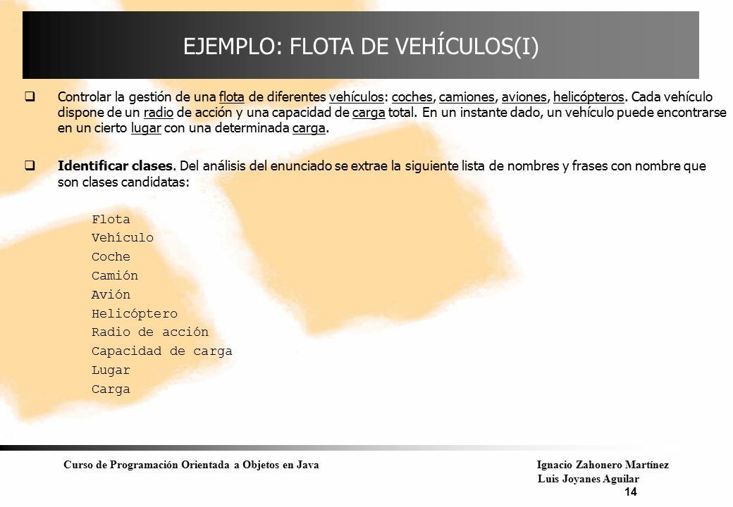 Curso de Programación Orientada a Objetos en JavaIgnacio Zahonero Martínez Luis Joyanes Aguilar 14 EJEMPLO: FLOTA DE VEHÍCULOS(I)  Controlar la gesti
