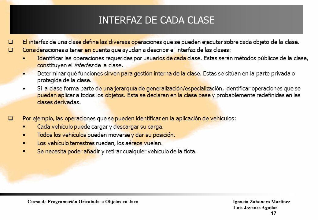 Curso de Programación Orientada a Objetos en JavaIgnacio Zahonero Martínez Luis Joyanes Aguilar 17 INTERFAZ DE CADA CLASE  El interfaz de una clase d