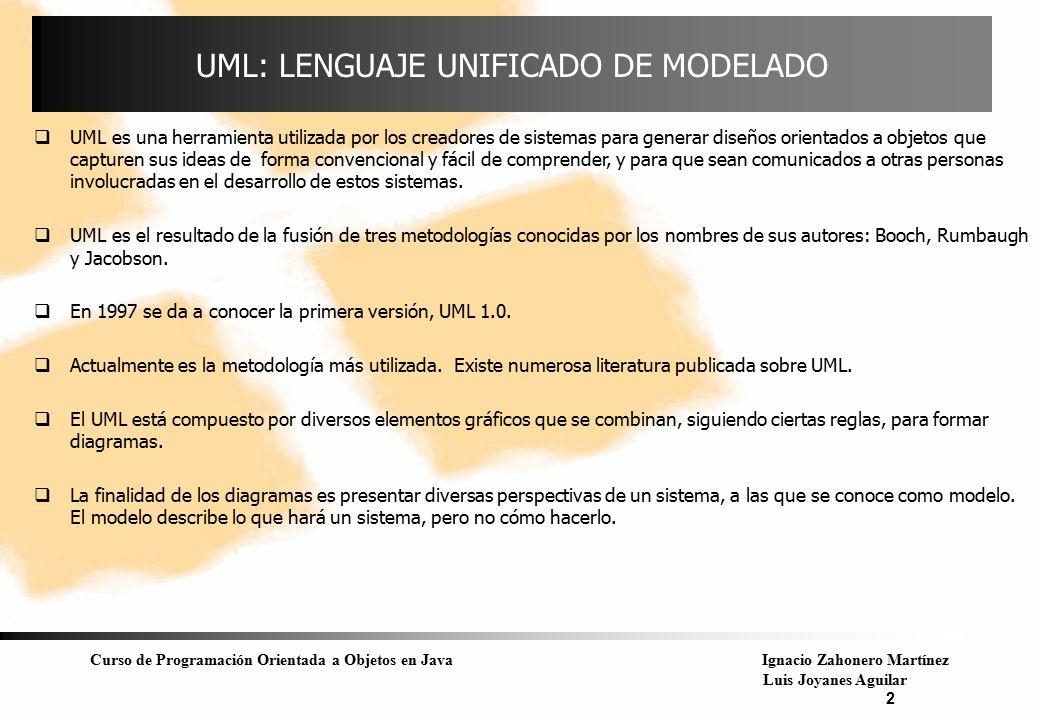 Curso de Programación Orientada a Objetos en JavaIgnacio Zahonero Martínez Luis Joyanes Aguilar 2 UML: LENGUAJE UNIFICADO DE MODELADO  UML es una her