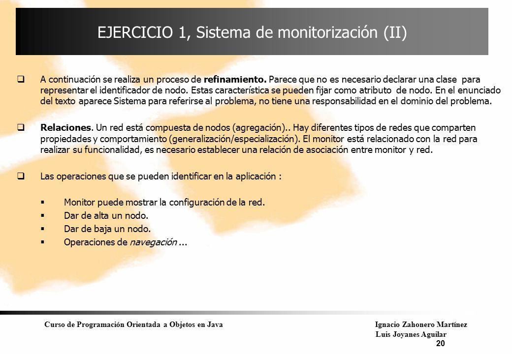 Curso de Programación Orientada a Objetos en JavaIgnacio Zahonero Martínez Luis Joyanes Aguilar 20 EJERCICIO 1, Sistema de monitorización (II)  A con