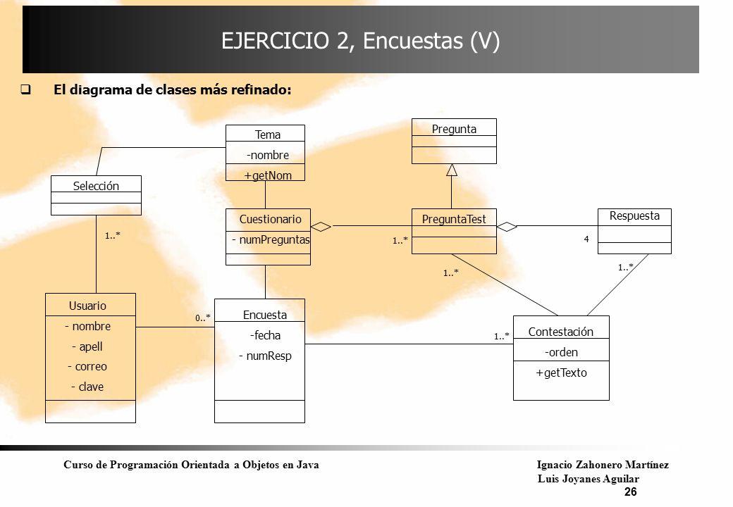 Curso de Programación Orientada a Objetos en JavaIgnacio Zahonero Martínez Luis Joyanes Aguilar 26 EJERCICIO 2, Encuestas (V)  El diagrama de clases
