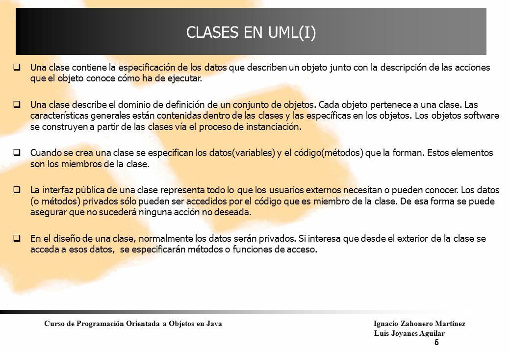 Curso de Programación Orientada a Objetos en JavaIgnacio Zahonero Martínez Luis Joyanes Aguilar 5 CLASES EN UML(I)  Una clase contiene la especificac