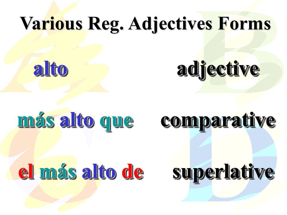 Various Reg. Adjectives Forms altoadjective más alto quecomparative el más alto de superlative altoadjective más alto quecomparative el más alto de su