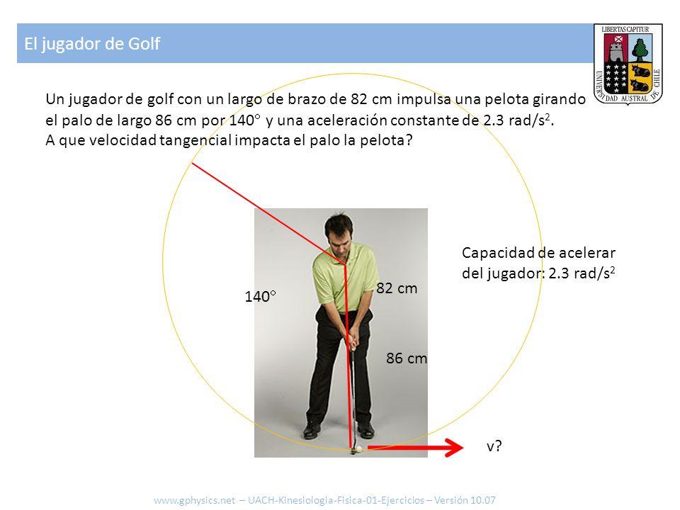 140  86 cm Capacidad de acelerar del jugador: 2.3 rad/s 2 v? Un jugador de golf con un largo de brazo de 82 cm impulsa una pelota girando el palo de