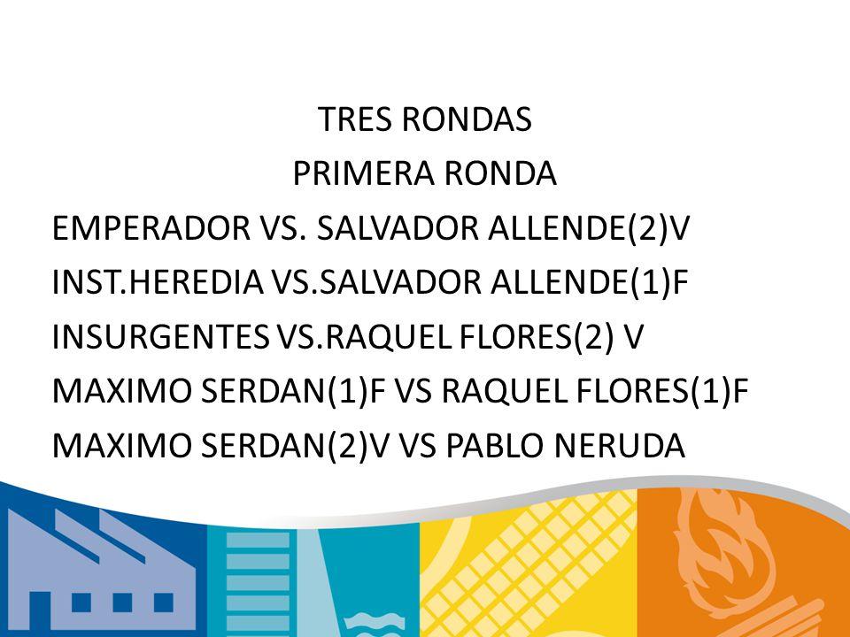 TRES RONDAS PRIMERA RONDA EMPERADOR VS. SALVADOR ALLENDE(2)V INST.HEREDIA VS.SALVADOR ALLENDE(1)F INSURGENTES VS.RAQUEL FLORES(2) V MAXIMO SERDAN(1)F