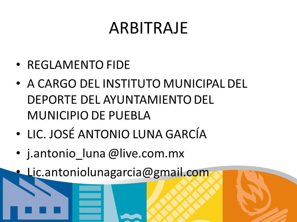 ARBITRAJE REGLAMENTO FIDE A CARGO DEL INSTITUTO MUNICIPAL DEL DEPORTE DEL AYUNTAMIENTO DEL MUNICIPIO DE PUEBLA LIC.