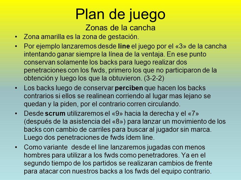 Plan de juego Zonas de la cancha Zona amarilla es la zona de gestación.