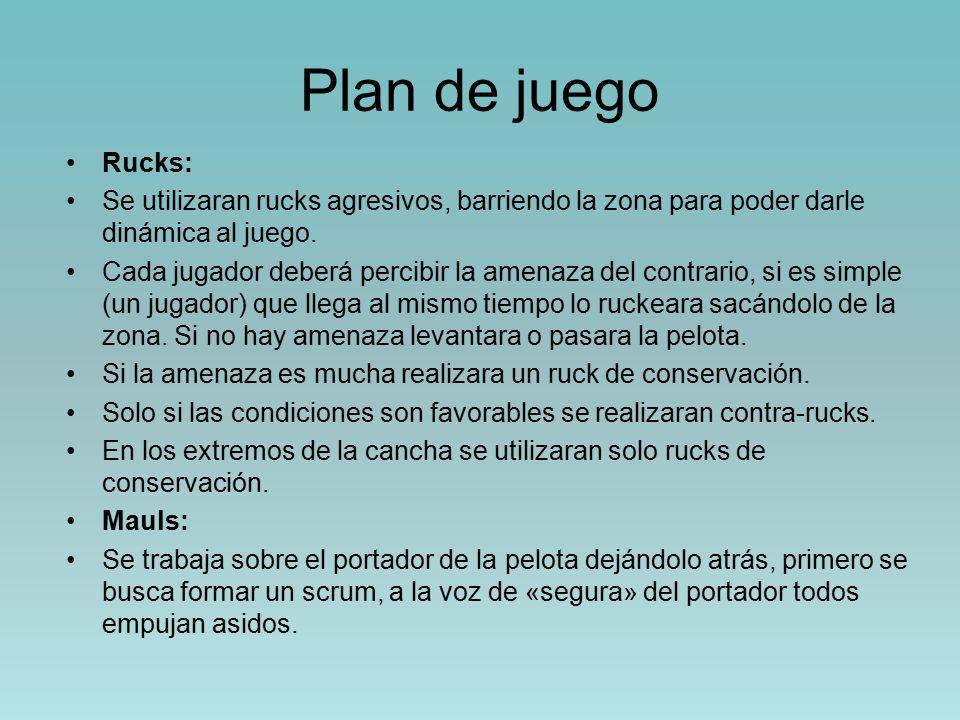 Plan de juego Rucks: Se utilizaran rucks agresivos, barriendo la zona para poder darle dinámica al juego.