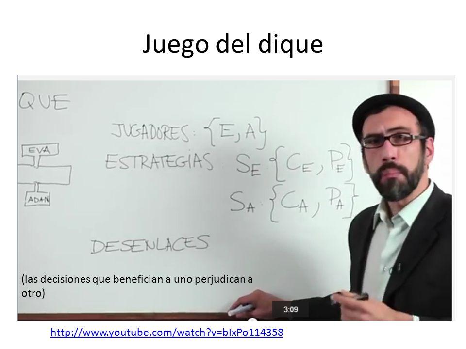 Juego del dique http://www.youtube.com/watch?v=bIxPo114358 (las decisiones que benefician a uno perjudican a otro)