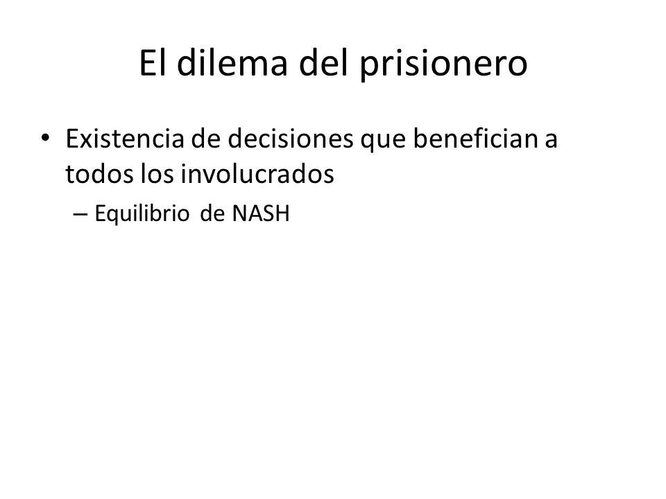 El dilema del prisionero Existencia de decisiones que benefician a todos los involucrados – Equilibrio de NASH