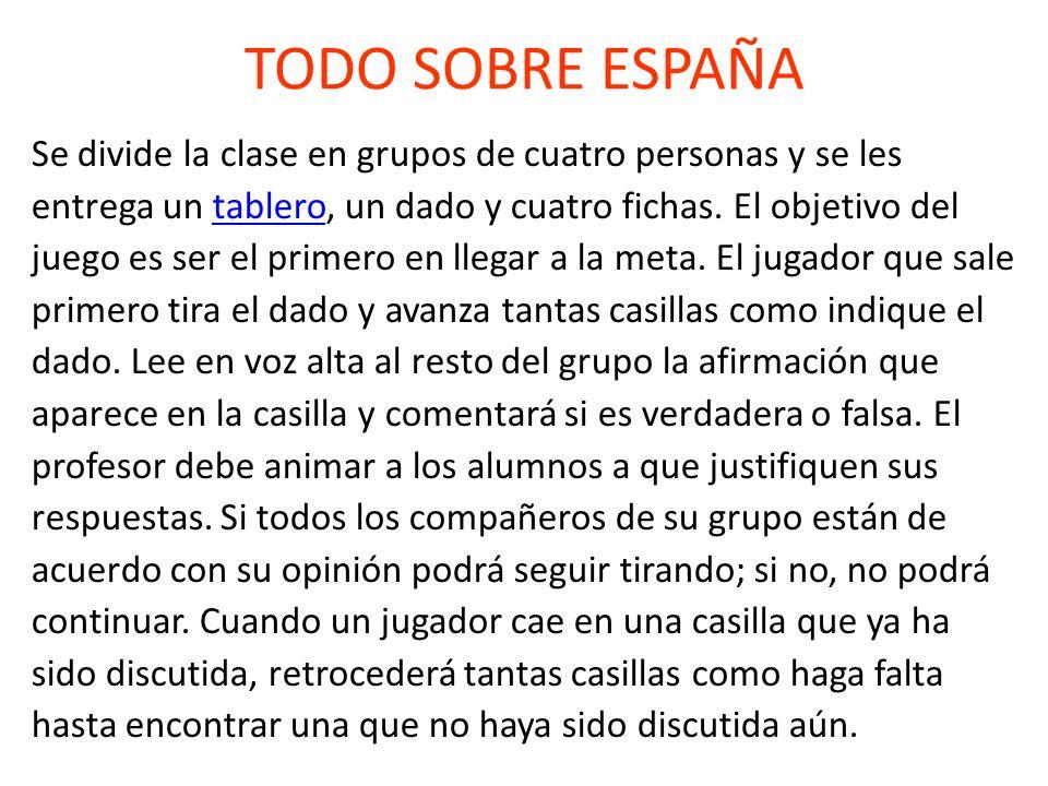 TODO SOBRE ESPAÑA Se divide la clase en grupos de cuatro personas y se les entrega un tablero, un dado y cuatro fichas.