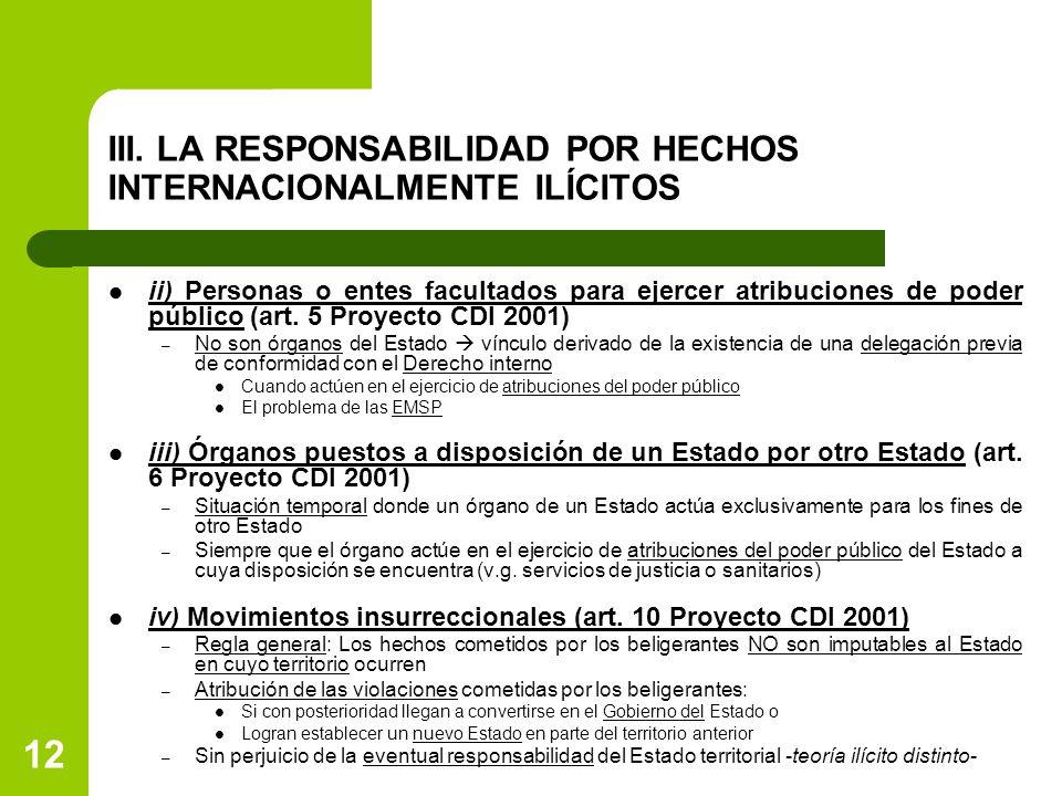 12 III. LA RESPONSABILIDAD POR HECHOS INTERNACIONALMENTE ILÍCITOS ii) Personas o entes facultados para ejercer atribuciones de poder público (art. 5 P