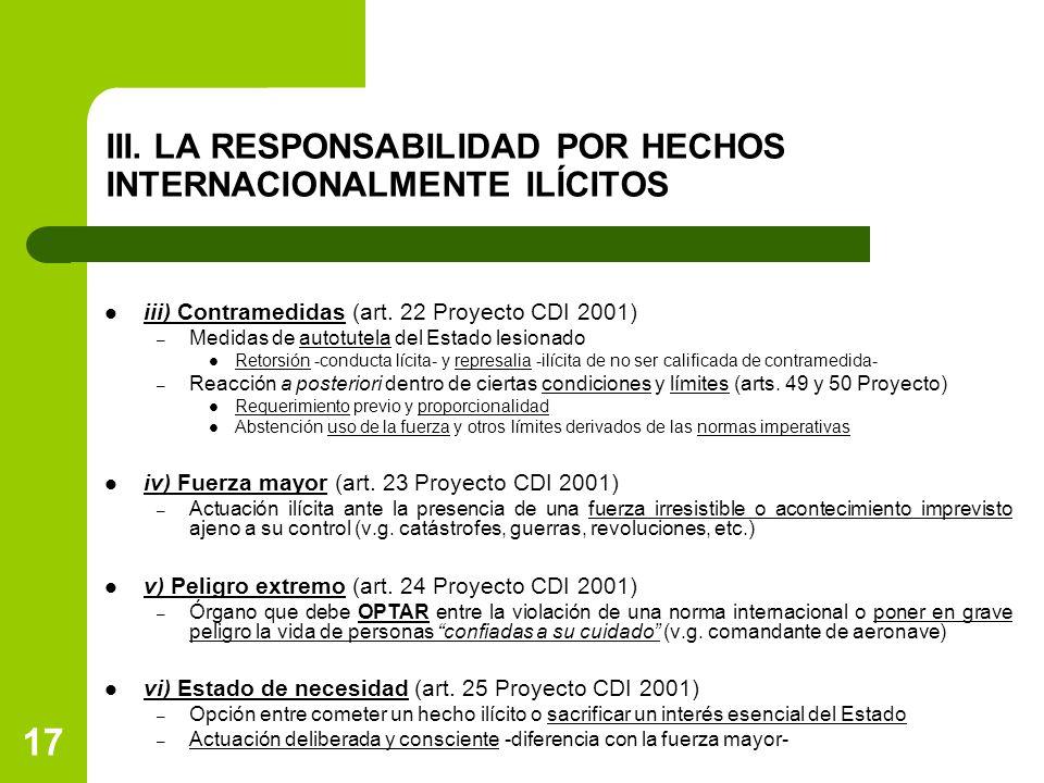 17 III. LA RESPONSABILIDAD POR HECHOS INTERNACIONALMENTE ILÍCITOS iii) Contramedidas (art. 22 Proyecto CDI 2001) – Medidas de autotutela del Estado le