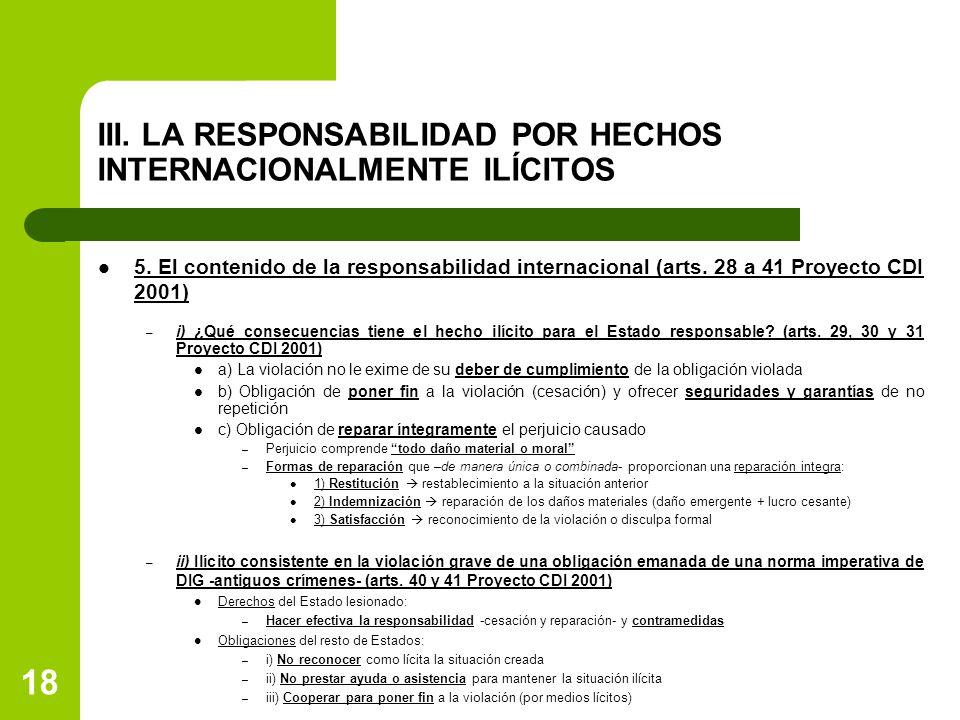 III. LA RESPONSABILIDAD POR HECHOS INTERNACIONALMENTE ILÍCITOS 5. El contenido de la responsabilidad internacional (arts. 28 a 41 Proyecto CDI 2001) –