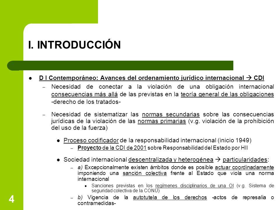 I. INTRODUCCIÓN D I Contemporáneo: Avances del ordenamiento jurídico internacional  CDI – Necesidad de conectar a la violación de una obligación inte