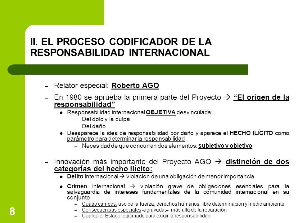8 II. EL PROCESO CODIFICADOR DE LA RESPONSABILIDAD INTERNACIONAL – Relator especial: Roberto AGO – En 1980 se aprueba la primera parte del Proyecto 