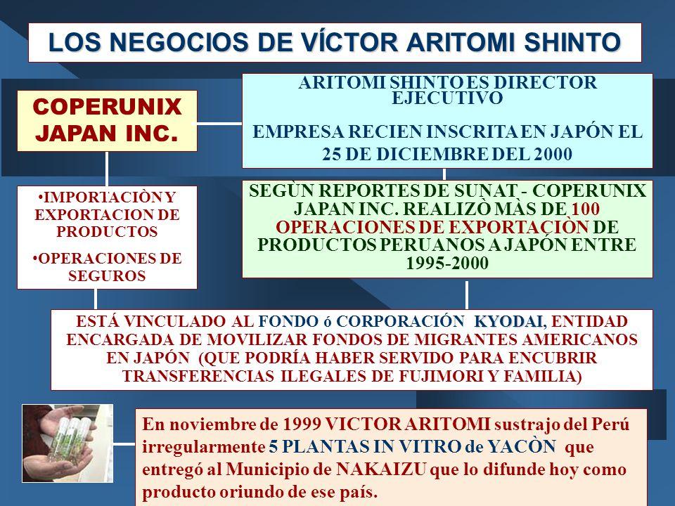 LOS NEGOCIOS DE VÍCTOR ARITOMI SHINTO En noviembre de 1999 VICTOR ARITOMI sustrajo del Perú irregularmente 5 PLANTAS IN VITRO de YACÒN que entregó al Municipio de NAKAIZU que lo difunde hoy como producto oriundo de ese país.