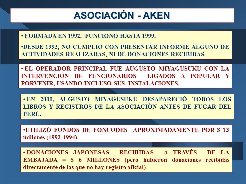 ASOCIACIÓN - AKEN FORMADA EN 1992. FUNCIONÒ HASTA 1999. DESDE 1993, NO CUMPLIÒ CON PRESENTAR INFORME ALGUNO DE ACTIVIDADES REALIZADAS, NI DE DONACIONE