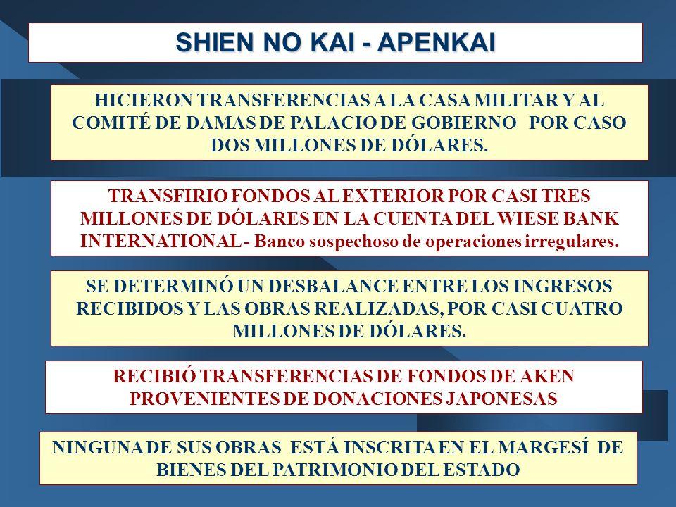 SHIEN NO KAI - APENKAI HICIERON TRANSFERENCIAS A LA CASA MILITAR Y AL COMITÉ DE DAMAS DE PALACIO DE GOBIERNO POR CASO DOS MILLONES DE DÓLARES. TRANSFI