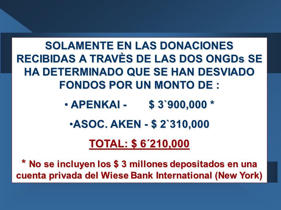 SOLAMENTE EN LAS DONACIONES RECIBIDAS A TRAVÈS DE LAS DOS ONGDs SE HA DETERMINADO QUE SE HAN DESVIADO FONDOS POR UN MONTO DE : APENKAI - $ 3`900,000 * APENKAI - $ 3`900,000 * ASOC.